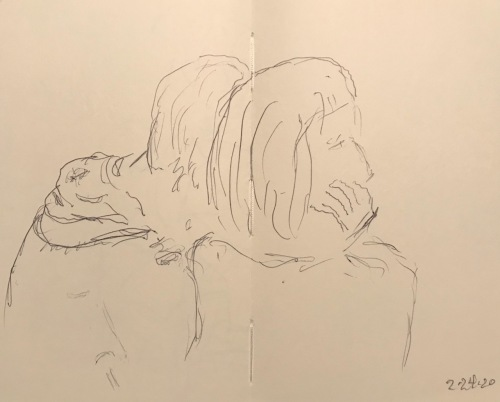 Sketch: Pen and Ink - Sick Person in Waiting Room