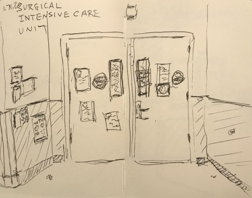 Sketch: Pen and Ink - Surgical Intensive Care Unit