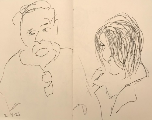 Sketch: Pen and Ink - Waiting Room Waiters Waiting to Be Engruntled