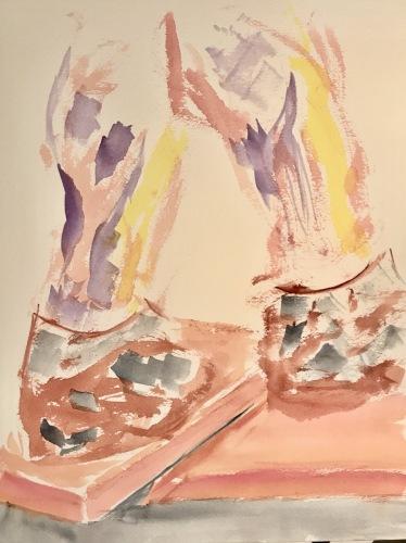 Watercolor: Figure - Walking Man on Divided Plinth