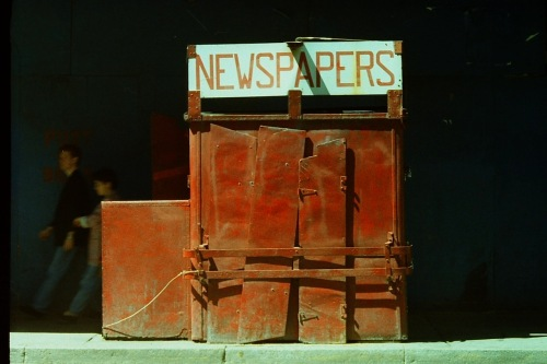 Photography: Street Photography - Vintage Photo: Red Newspaper Stand on 46th Street 9.1.1991