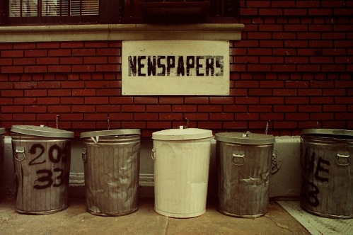 Photography: Vintage Photo: Newspaper Trash Can NYC 1991