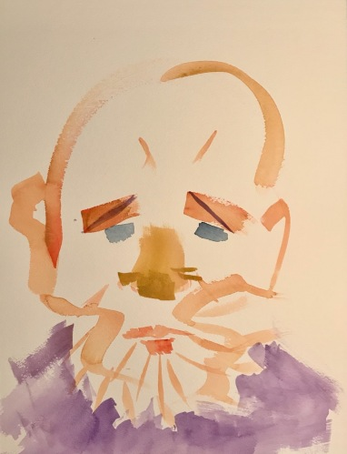 Watercolor: Abstract - Face with Purple Shirt