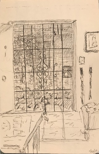 Sketch: Vintage Pencil/Ink - Screen Door
