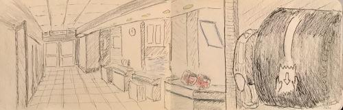 Sketch: Pencil/Ink - Vintage Sketch: Hospital Corridor Circa 2010