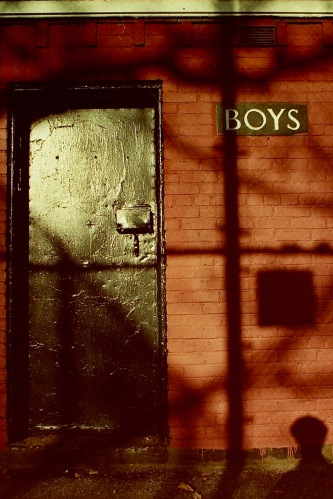 Photography: Vintage Photo: Boys' Room Door (and Self Portrait) NYC (East Side Park) circa 1990