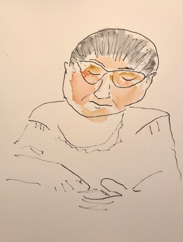 Watercolor and Blind Ink Sketch: Hazards of Quarantine: Blind Drawing a Portrait of a Loved One