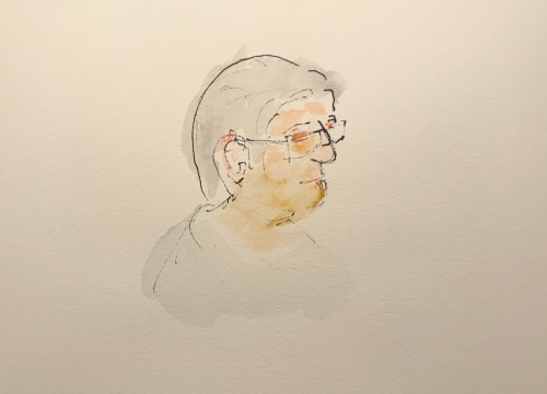 Watercolor and Ink Sketch: Quarantine Portrait Series: Profile - Tinted Ink Drawing