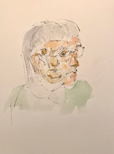 Watercolor and Ink Sketch: Quarantine Portrait Series: Sisters