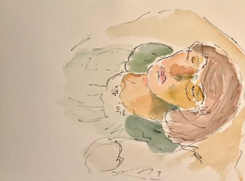 Watercolor and Ink Sketch: Quarantine Portrait Series: Taking a Nap