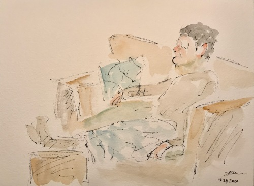 Watercolor and Ink Sketch: Quarantine Portrait Series: Watching TV Again