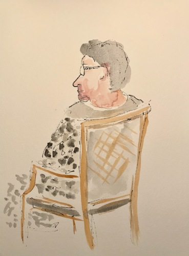 Watercolor and Ink Sketch: Quarantine Portrait Series: Watching TV Over the Shoulder