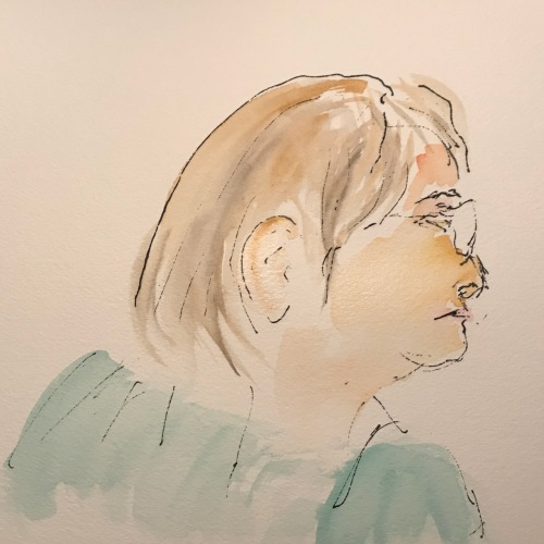 Watercolor and Ink Sketch: Quarantine Portrait Series: Watercolor-Tinted Ink Sketch