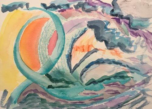 Watercolor: Abstract - Sunset on Planet 19
