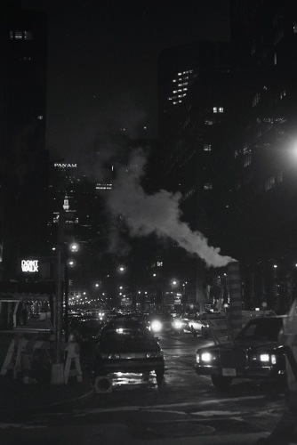Photography: Vintage Photo: New York at Night - Pan Am Building and Steam March 1989