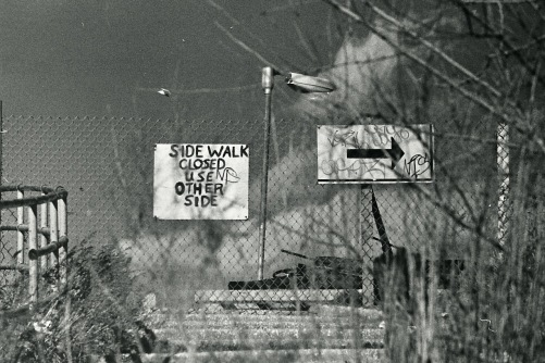 Photography:Vintage Photo: Sidewalk Construction Signs, Brooklyn NYC 1990