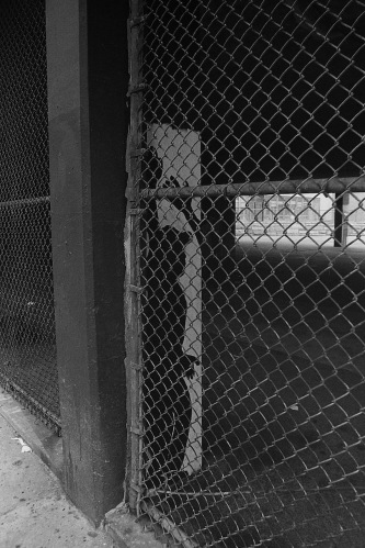 Photography: Vintage Photo: The Shadow Knows, Underpass with Chain Link Fence, NYC 1991