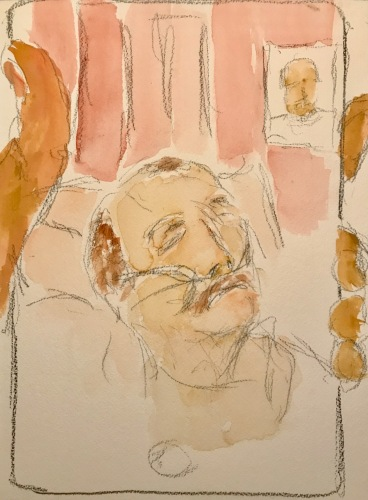 Watercolor and Pencil Sketch: Quarantine Portrait Series: Another Hospital Visit with Mike