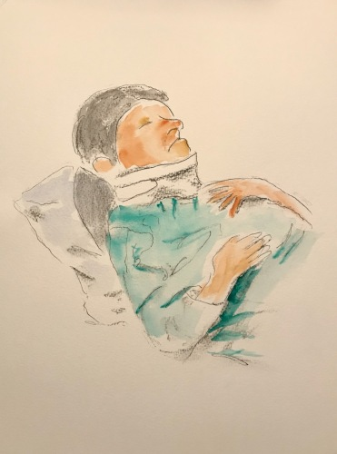Watercolor and Ink, Pencil, Charcoal Sketch: Quarantine Portrait Series: Home Accident Recovery