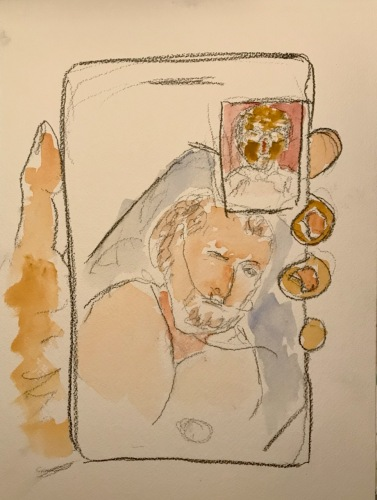 Watercolor and Pencil Sketch: Quarantine Portrait Series: Hospital Visit with Brother Mike