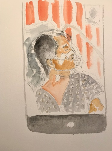 Watercolor and Ink Sketch: Quarantine Portrait Series: Mike in Respiratory Distress