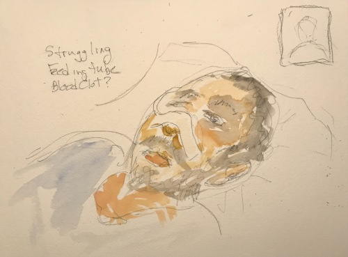 Watercolor and Pencil and Ink Sketch: Quarantine Portrait Series: Mike Very Stressed