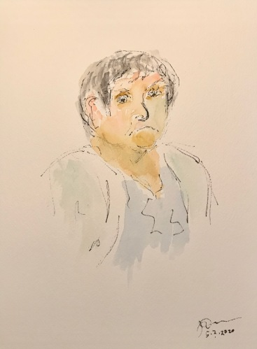 Watercolor and Ink Sketch; Quarantine Portrait Series: Not Feeling Very Well