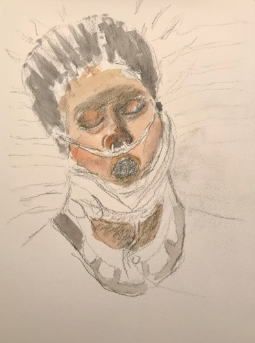 Watercolor and Pencil Sketch: Quarantine Portrait Series: Oxygen
