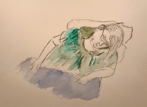 Watercolor and Pencil Sketch: Quarantine Portrait Series: Partly Tinted Portrait of Sleeping Woman 05082020