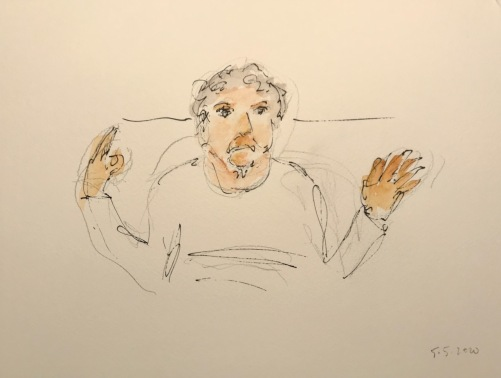 Watercolor and Ink Sketch; Quarantine Portrait Series: Portrait with Gesture II