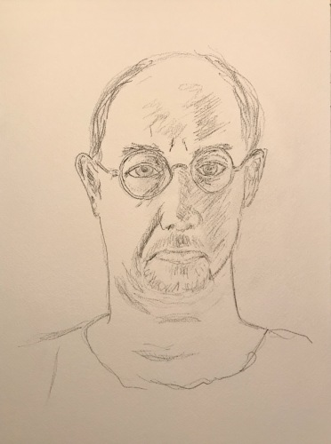 Pencil and Ink Sketch: Quarantine Portrait Series: Self Portrait, 2nd Iteration