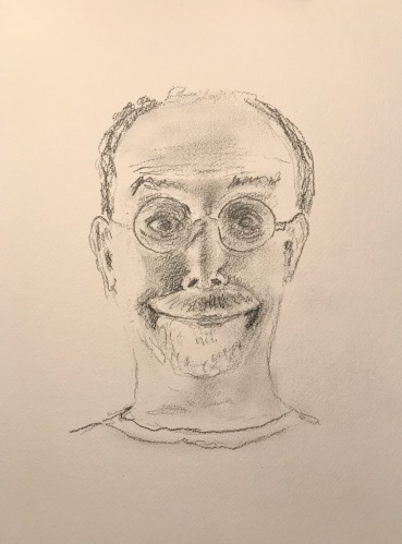 Pencil Sketch: Quarantine Portrait Series: Self Portrait - Caught in Headlights