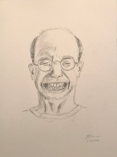 Pencil Sketch: Quarantine Portrait Series: Self Portrait - Grimace