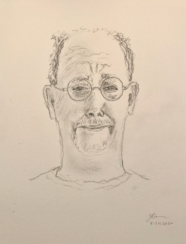 Pencil Sketch: Quarantine Portrait Series: Self Portrait - Grimace with Unruly Hair