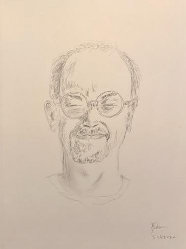 Pencil Sketch: Quarantine Portrait Series: Self Portrait - Squinch