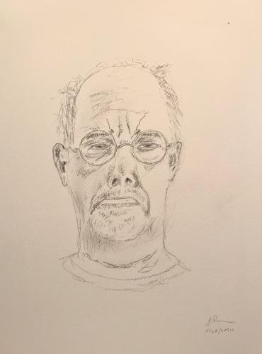 Pencil Sketch: Quarantine Portrait Series: Self Portrait - Squinty Eyes; Lower Lip