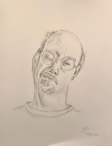 Pencil Sketch: Quarantine Portrait Series: Self Portrait - Tilted Head, Closed Eye