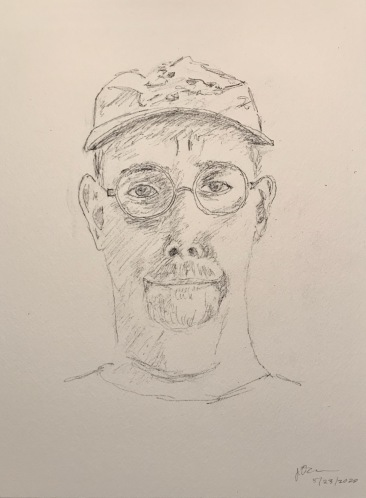 Pencil and Ink Sketch: Quarantine Portrait Series: Self Portrait with Baseball Cap
