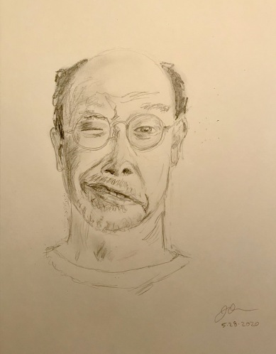Pencil Sketch: Quarantine Portrait Series: Self Portrait with Crooked Mouth
