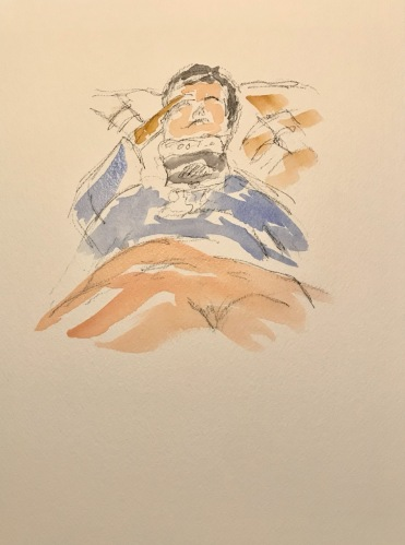 Watercolor and Pencil Sketch: Quarantine Portrait Series: Sometimes it is Hard to Take