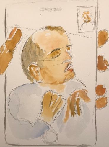 Watercolor and Pencil Sketch: Quarantine Portrait Series: Tele-Portrait with Hand Gestures