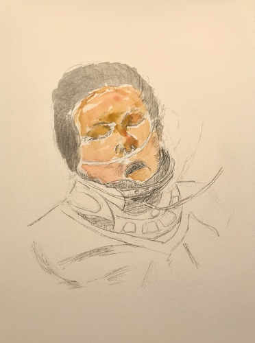 Watercolor and Pencil Sketch: Quarantine Portrait Series: Trying to Memorize a Face