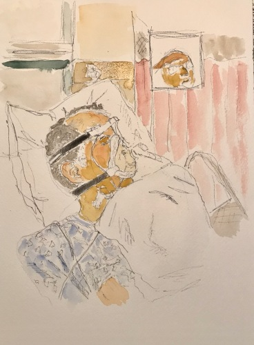 Watercolor and Ink Sketch: Quarantine Portrait Series: Video Visit with Mike in Hospital, Post 'Urgent' Procedure Call