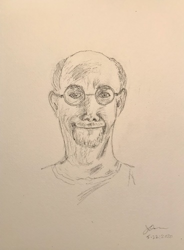 Pencil and Ink Sketch: Quarantine Portriat Series: Self Portrait with Smile (for a change)