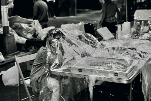 Photography: Vintage Photo: Street Vendor Under Plastic, West Village NYC June 1988
