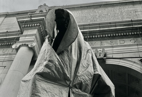 Photography: Vintage Photo: Teddy Roosevelt and Horse, Shrouded for Maintenance, Museum of Natural History NYC June 1988