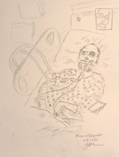 Pencil Sketch: Facetime with Mike on a Respirator