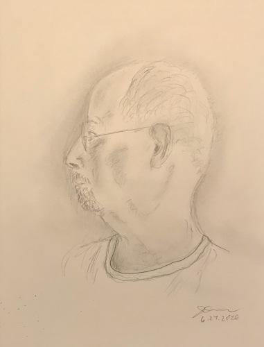 Pencil Sketch: Quarantine Photo Series: Self Portrait, Profile with Neck