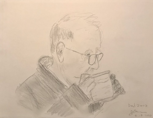 Pencil Sketch: Quarantine Portrait Series: Dad Drinking Coffee in 2003