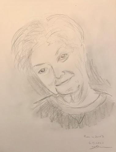 Pencil Sketch: Quarantine Portrait Series: Mom from 2003 (I got the smile)